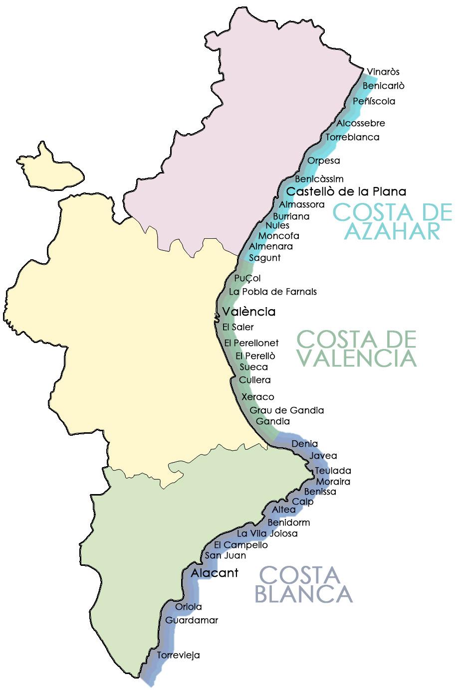 Mapa Costa Comunidad Valenciana.Playas De La Comunidad Valenciana Costa Blanca Costa De